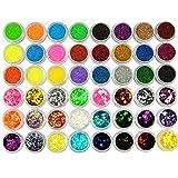 Coscelia Kit Decorazione 24pc Polvere Colorata Brillantini + 24pc Sequins Glitter Pailette Fai Da Te DIY Accessori Decorazioni