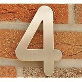 Hausnummer Nr. 4 - Edelstahl gebürstet - 15 cm - witterungsbeständig - einfache Montage