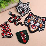 Pinkdose® 2: Iron On Patches for Clothing Transfer Embroidery Patch Parches Appliques Stickers DIY Snake Wolf Badge