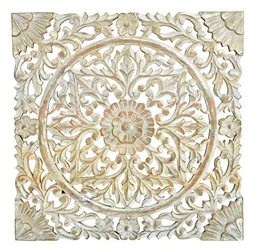 Meinposten. Wandornament Mango Holz 50x50 cm Shabby Ornament Holzornament Holzbild Creme Wandbild -