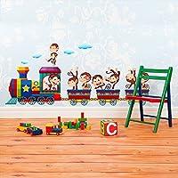 wall art R00222 adesivi murali per bambini, treno con scimmie, 30 x 120 x 0,1 cm, multicolore - Scimmia Treno
