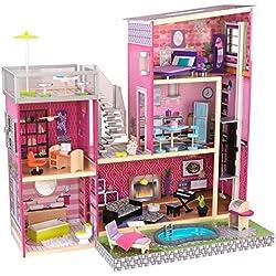 KidKraft 65833 Maison de poupées en bois Uptown incluant accessoires et mobilier, 3 étages de jeu pour poupées 30 cm