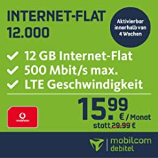 mobilcom-debitel Internet-Flat 12.000 im Vodafone-Netz (15,99 EUR monatlich, 24 Monate Laufzeit, 12 GB Internet-Flat, LTE mit max. 500 MBit/s, EU-Roaming-Flat, Triple-Sim-Karten)