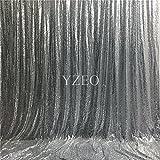 YZEO 1,5x 2,7m argento paillettes fondale fotografico, Tessuto, Silver, 9ftx9ft