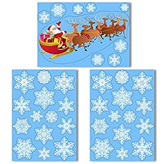 Santa on his Sleigh Window Cling with 36 Elegant Snowflake Window Stickers - Quick & Simple Christmas Decorations - Glueless Vinyl Stickers