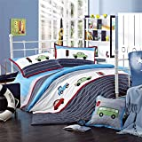 MeMoreCool Home Textile Embroidery Cartoon Car Design Kids 100% Cotton 3-Piece Bedding Set Quilt Covers for Boys and Girls Soft Flounce Bed Sheets Twin Size