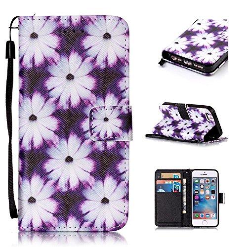 Custodia per iPhone SE / iPhone 5S / iPhone 5, Hancda Modello Elegante Disegni Cover Funzione Stand Custodia in Pelle Portafoglio di Cuoio Libro Sottile Flip Case Protettiva Chiusura Magnetica Antiurt Crisantemo Bianco