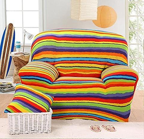 Housse de canapé élastique Imprimé à rayures Slipcover étroite Wrap complet Housse de canapé d'angle stretch couvertures de meubles 1/2/3places, 002, 3 seater:190-230cm