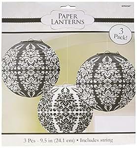 """Lampions """"Ornament"""", 3 St., schwarz-weiss - die ideale Deko für festliche Anlässe"""