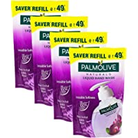 Palmolive Naturals Black Orchid & Milk Liquid Hand Wash, 185ml Refill (Pack of 4), Wash Away Germs, Refreshing Fragrance