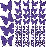 GRAZDesign 770064_57_043 Wandtattoo Schmetterlinge klein groß | für Wohnzimmer - Küche - Kinderzimmer | Wand-Aufkleber 84 Stück im Set - mit versch. Größen (58x57cm//043 Lavendel)