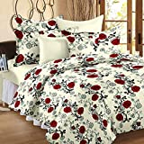 #9: Ahmedabad Cotton Floral 136 TC Cotton Double Bedsheet with 2 Pillow Covers - Checkered, Beige and Red