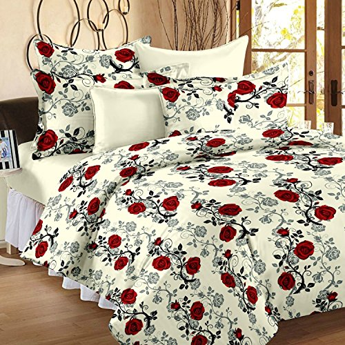Ahmedabad Cotton Floral 136 TC Cotton Double Bedsheet with 2 Pillow Covers - Checkered, Beige and Red