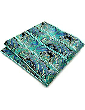 Shlax&Wing Green Paisley Pocket Square Mens Hanky Silk 12.6