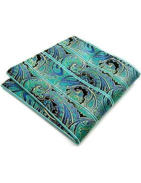 Shlax&Wing Green Paisley Pocket Square Mens Hanky Silk 12.6