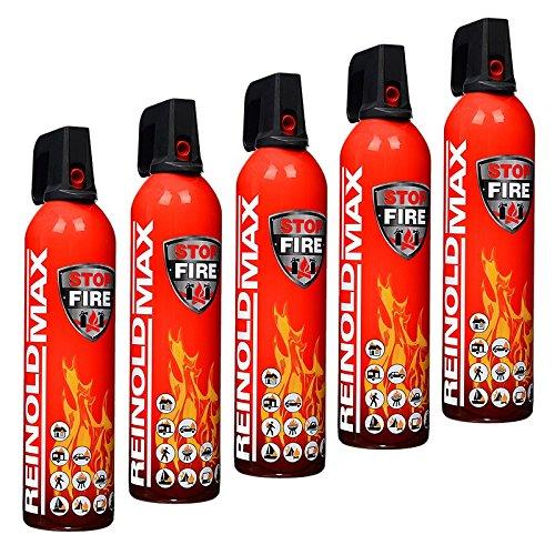 Preisvergleich Produktbild 5x 750 ml Universal ReinoldMax STOP FIRE Feuerlöschspray Feuerlöscher Brandklasse A B E F