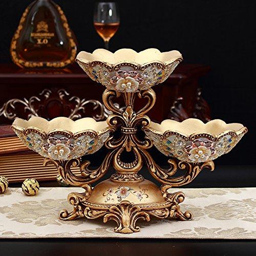 XOYOYO Europäischen Luxus Home Dekorationen Wohnzimmer Couchtisch Obst Platten von Tissue Boxen Vasen Aschenbecher zweckmässig eingerichtet, Pfau Dual-Layer Disc Dv1