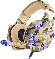 VersionTECH. Gaming Headset PS4 Kopfhörer Professionelle 3,5 mm PC LED-Licht Spiel Bass Kopfhörer Stereo Noise Isolation Over-Ear-Headset mit Mikrofon für PS4 Neue Xbox one Laptop Computer und Smart Phone iPhone, Camouflage