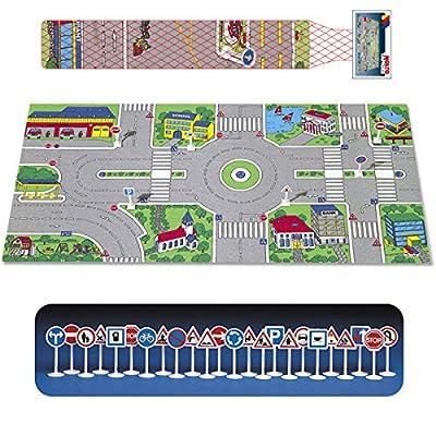 Spielteppich, Schaumstoff, mit Verkehrsschildern, 124 x 60cm - 124X60 Spielteppich Autoteppich Verkehrsteppich Spiel Straße Teppich Spielzeug von Siehe Beschreibung