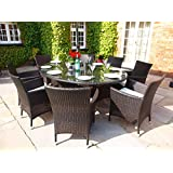 Baby Royal Oval Grey Rattan All Weather Garden or Conservatory 6 Carver Chair Dining Furniture Set