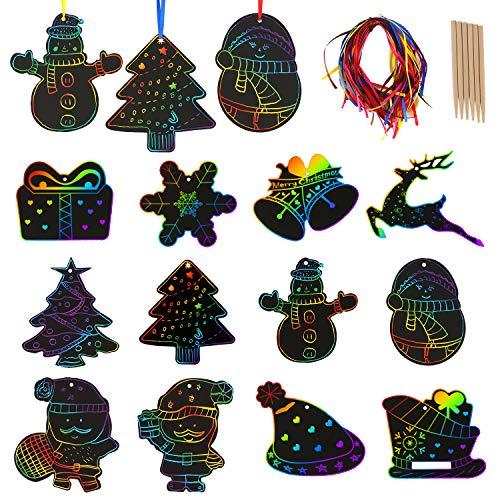 Savita 48 pezzi natalizie scratch art per bambini, 24 pezzi di stilo in legno, 48 pezzi di nastri - lavoretti creativi per bambini natale, decorazioni natalizie, forniture per feste di natale