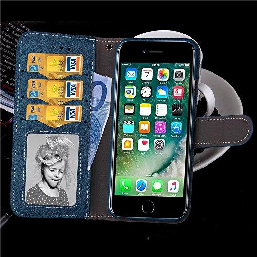 iPhone Case Cover Apple iPhone 7 Plus Case, Matte Surface Etui en Cuir PU, Fermeture magnétique Flip Stand Case Avec Hand Strap Carte Cash Cash Slot pour IPhone 7 Plus ( Color : Brown , Size : IPhone  Blue