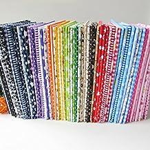 56 piezas por lote de tela de algodón con estampados florales para patchwork (25 x 25cm), diseños no repetidos, tejido de costura para patchwork