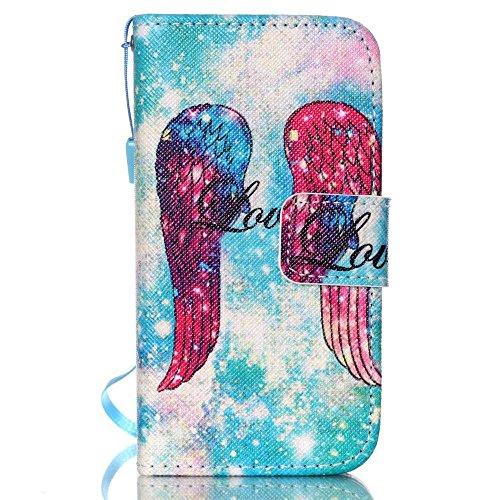 KATUMO® PU Leder Schutzhülle für Apple iPhone 4/4S, Hülle Etui Handy Tasche Wallet Case Flip Folio Flip Cover mit Standfunktion Kartenfächer,Engel