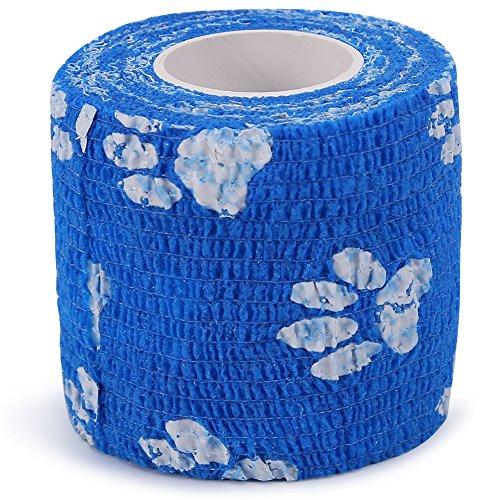 4 Arten Neue Vlies Elastische Selbstklebende Bandage Bequeme Wraps Sport Gelenke Support Tape Erste Hilfe Selbstklebende Rap Tape für Outdoor-Sport(Blaue & weiße Pfote)