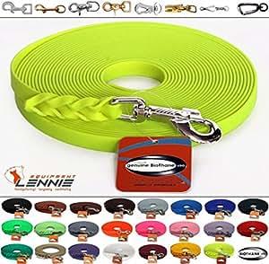 BioThane® Schleppleine 13 mm in 25 Farben [Neon-Gelb] / 1-30 Meter [10m] / geflochten / ohne Handschlaufe