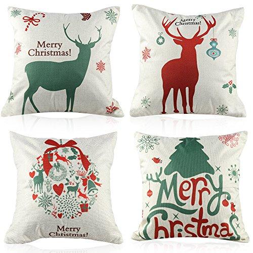 Coogam 4 Stück Fröhliche Weihnachten Platz Dekokissen Deckt 45x45 cm Baumwolle Leinen Dekorative Kissen Kissenbezüge für Sofa Couch Schlafzimmer Frohe Weihnachten Dekoration