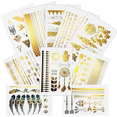 Mangopie Tattoos Flash Temporäre Metallic Tattoo in Gold Silber Schwarz für Sticking Hippie Weihnachten Baby Hand 10 Bogen
