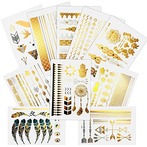 Mangopie Tattoos Flash Temporäre Metallic Tattoo in Gold Silber Schwarz für Sticking Hippie Weihnachten Baby Hand 10 Bogen