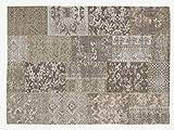 DALLIANCE ALLOVER Vintage Patchwork Velour Teppich in natur, Größe: 170x240 cm