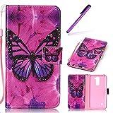 EMAXELERS LG Stylus 2 Hülle Schmetterling PU Leder Lederhülle Flip Tasche Wallet Schutzhülle Etui Bookstyle Handyhülle Hülle für LG G Stylo 2 K520 / LS775,Rose Butterfly