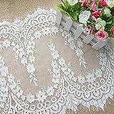 ALE11 Chantilly Spitzenstoff Blumenmuster Brautkleid Blumenstoff Muschelsaum Applikation Kleidung Vorhang Schwarz Offwhite 300 x 34 cm gebrochenes weiß