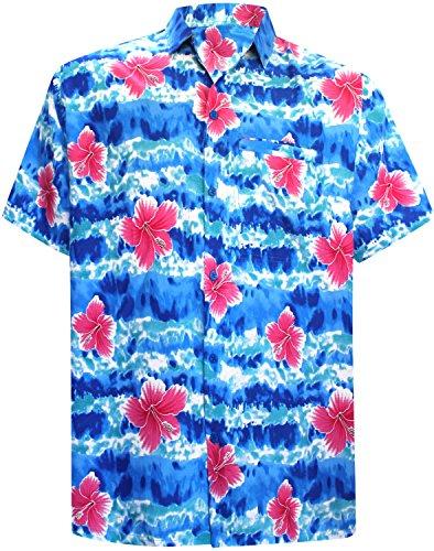 La Leela Casual Likre Hibiskus Flora Taste Gedrückt Männer Lagerhemd Strahlend Blauem XL (La Hibiskus Leela)