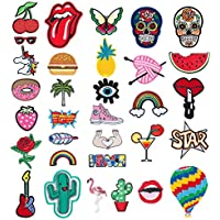 Patch Sticker - Comius 32 Pcs Apliques, Parches Ropa Termoadhesivos, Cute DIY Ropa Parches para la camiseta Jeans Ropa Bolsas (Multicolor)