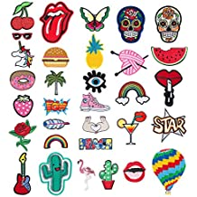 Patch Sticker - Comius 32 Pcs Apliques, Parches Ropa Termoadhesivos, Cute DIY Ropa Parches