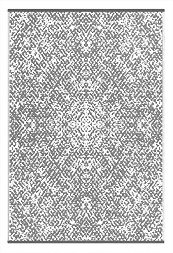 (150 x 240 cm, Grey / White) - Lightweight Outdoor Reversible Plastic Rio Rug (5 x 8, Grey/White) - 8 X Teppich-pad, 5