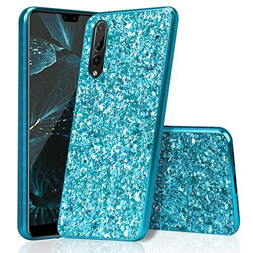 Huawei P20 Pro Hülle Silikon Glitzer, Huphant PC+TPU Huawei P20 Pro Hülle Luxus Sparkle Bling Glitter Phone Case Stoßfest Ultra Slim Anti-Scratch Hard PC Case Stoßfänger Rückseitige Abdeckung -Blau -