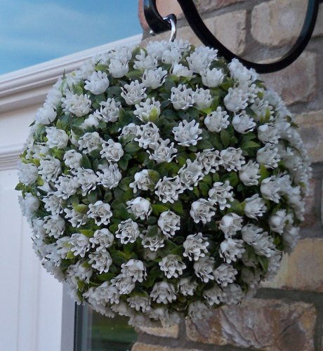 Meilleur topiaire boule fleur artificielle 28cm Blanc Ivoire Rose