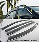 #3: CARTECY Wind-ow Deflector Rain Door Visor for Ciaz All Models | Chrome/Silver Line,Set of 4 Pc |