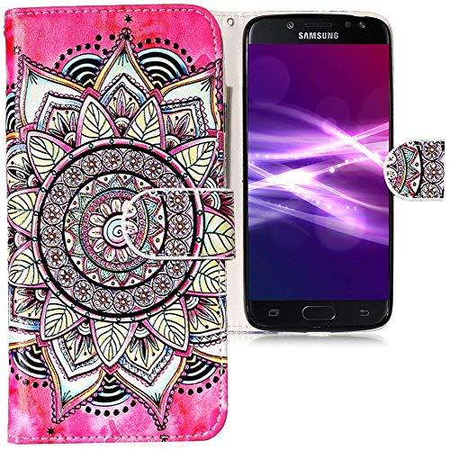CLM-Tech kompatibel mit Samsung Galaxy J5 (2017) DUOS Hülle Tasche aus Kunstleder, PU Leder-Tasche Lederhülle Blumen Kreis Muster rosa schwarz Mehrfarbig