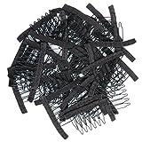 Golden Rule in acciaio inox 40 pezzi pettine denti avvolto pettini per parrucca glueless parrucca clip (nero)
