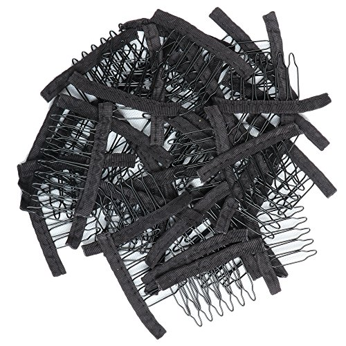 l 40 Stücke Zahn Kamm umwickelte Perücke Kämme für Perücke Caps Glueless Perücke Clips (schwarz) (Perücke Cap)