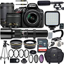 Nikon D5300 24.2 MP DSLR Camera (Black) Video Kit With AF-P 18-55mm VR Lens, AF-P 70-300mm ED VR Lens & 500mm Lens + LED Light + 32GB Memory + Filters + Macros + Deluxe Bag + Professional Accessories