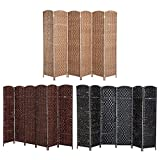 Folding Raffia Weave Wicker Privacy Panels / Room Dividers (6, black )