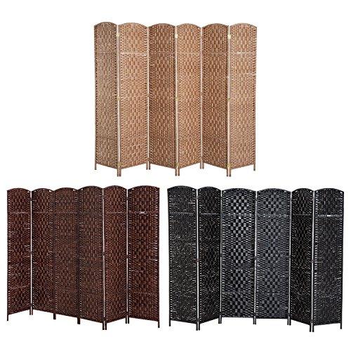 Paneles plegables de mimbre, para privacidad, división, marrón claro