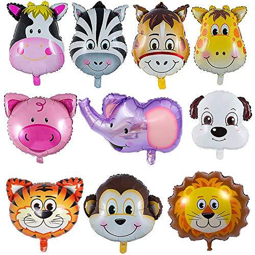 YIKEF Folienballon Tiere, 10 Stück Tierkopf Luftballons, Luftballons Tiere Kindergeburtstag - Helium ist Erlaubt, Perfekt für Kinder Geburtstag Party Dekoration (Für Kinder, Party Luftballons)